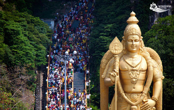 thaipusam crowds at the batu caves