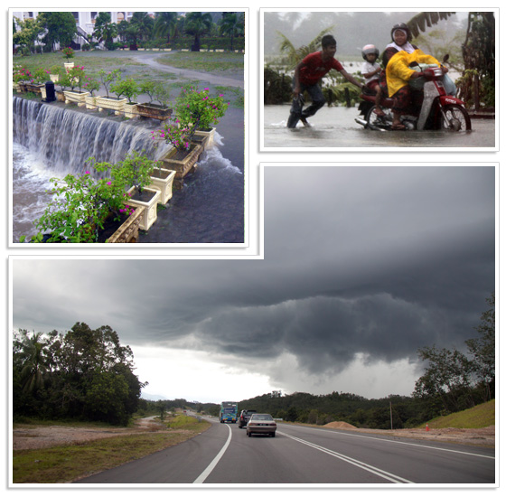 Bad weather during monsoon season in Malaysia (Top pictures from Langkawi, lower picture near Lake Kenyir)