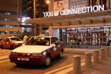 Taxi around closing time at the mall