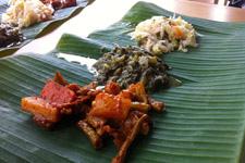 Indian dish on banana leaf