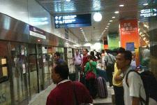 KLIA Express train to KL Sentral boarding