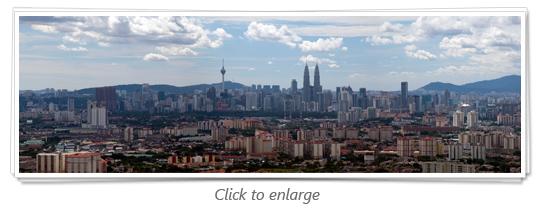Kuala Lumpur Skyline from lookout Point