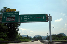 Sign on highway to Penang Island