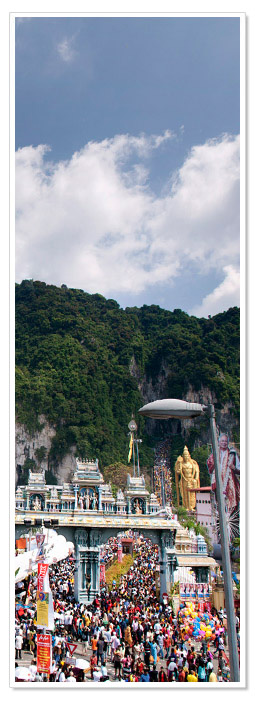 Huge crowds at the Batu Caves during Thaipusam