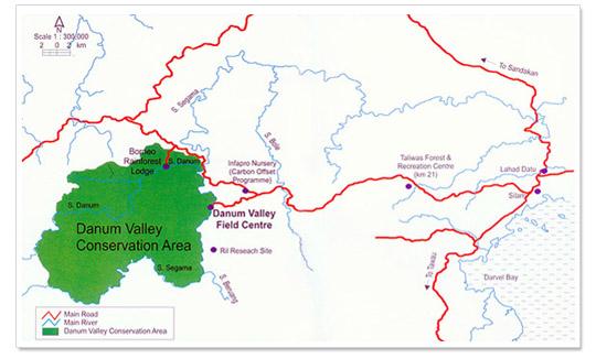 Map Danum Valley Wildlife Park