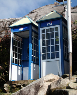 A phone booth high up Mount Kinabalu in Malaysia